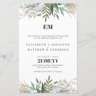 Budget Greenery Leaves Typography Wedding Invites