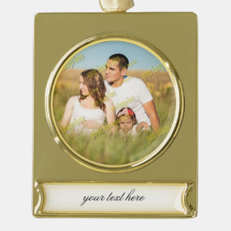 Budget Image Family Photo Template Gold Plated Banner Ornament