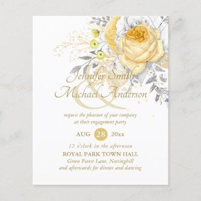 Budget Indulgent White Gold Roses Wedding Paper