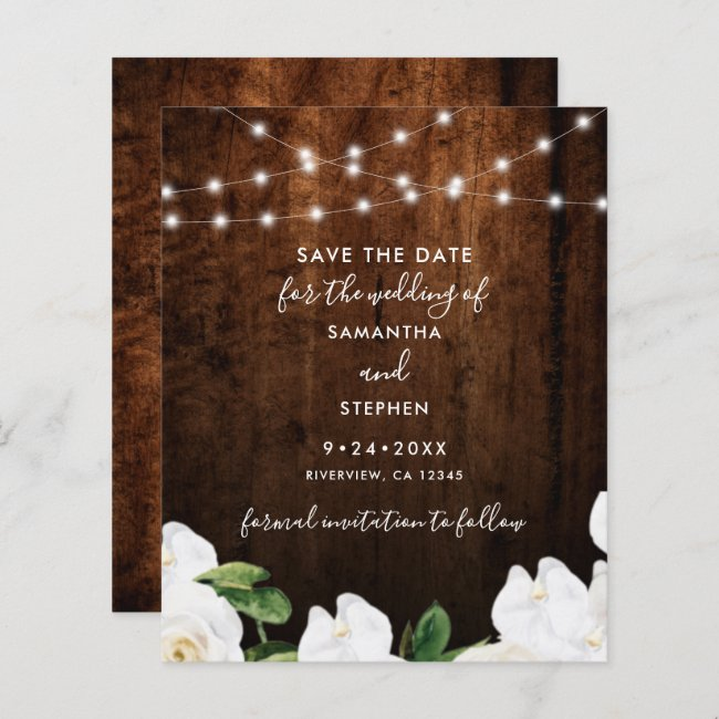 Budget Lights Floral Wood Wedding Save The Date