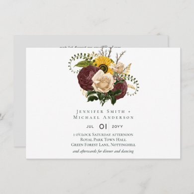 BUDGET Marsala Roses Sunflowers Wedding Invite