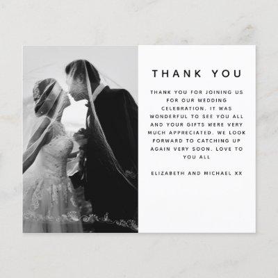 BUDGET Minimalist Photo Custom Wedding Thank You