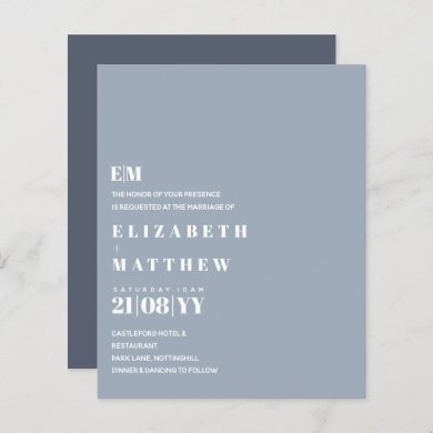 Budget Modern Dusty Blue Wedding Invites
