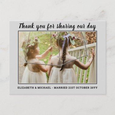 BUDGET Modern THANKYOU Wedding Photo Letter Postcard