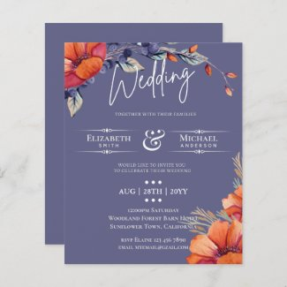 BUDGET Orange Lavender Floral Wedding Invite