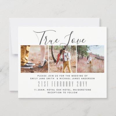 Budget Photo Collage Overlay Text Wedding Invites