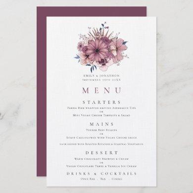Budget Purple Berry Pink Florals Wedding Menu