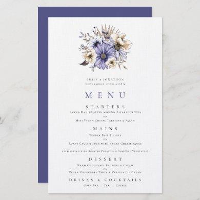 Budget Purple Cream Floral Bouquet Wedding Menu