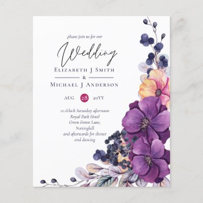 BUDGET Purple Dynasty Dark Floral Wedding Invites
