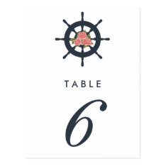 Budget Romantic Nautical Wedding Table Number Postcard at Zazzle