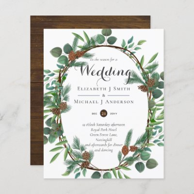 Budget Rustic Christmas Wedding Winter Invites