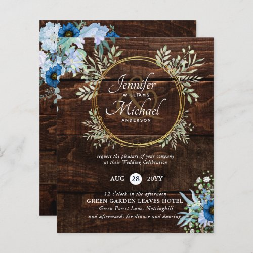 BUDGET Rustic Dusty Blue Floral Wedding Invite