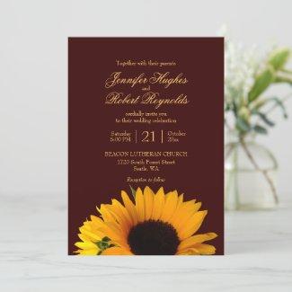 Budget Rustic Fall Sunflower Wedding Invitation