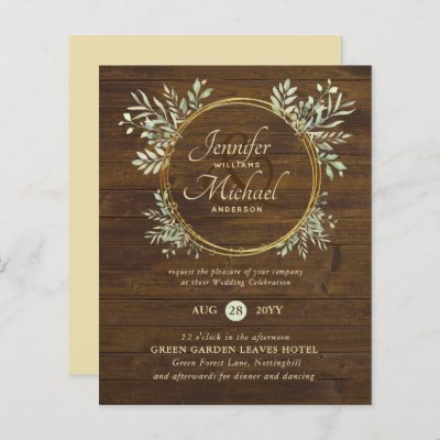BUDGET Rustic Gold Greenery Wreath Wedding Invite