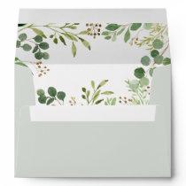 Budget Rustic Greenery Eucalyptus Leaves Wedding Envelope