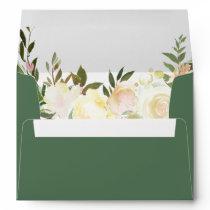 Budget Rustic Greenery Leaves Ivory Floral Wedding Envelope