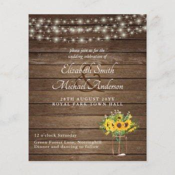 Budget Rustic Lights Mason Jars Sunflowers Wedding