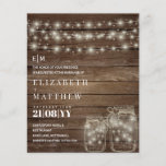 "Budget Rustic Lights Mason Jars Wedding Invites<br><div class=""desc"">This modern wedding invitation features a rustic wood, strings of lights and mason jars theme. Add your wedding details via the text templates front and back. Plenty of space to add rsvp, directions, gift registry details and more. For matching items contact Designer LeahG. 1 invite = 1 sheet, 💠 Note:...</div>"
