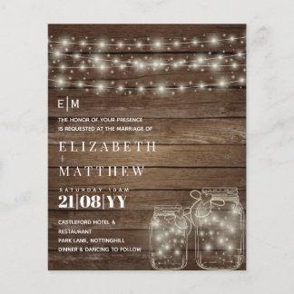Budget Rustic Lights Mason Jars Wedding Invites