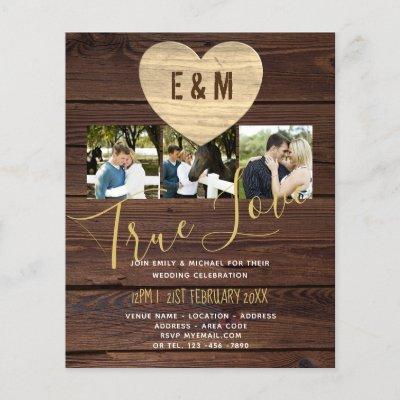 Budget Rustic Photo Collage Wedding Invitations