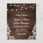 """Budget Rustic Script String Lights & Lace Wedding<br><div class=""""desc"""">Who says that budget-friendly can't be gorgeous? Not us! This design features a realistic wooden background with string lights on the top and beautiful delicate lace in the bottom corners. Customize this design by clicking the """"personalize"""" button and typing into the text boxes. Once you've finished adding your details, be...</div>"""