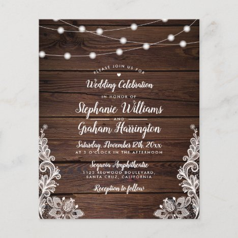 Budget Rustic Script String Lights & Lace Wedding
