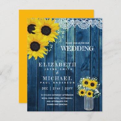 BUDGET Rustic Sunflower BabysBreath Wedding Invite