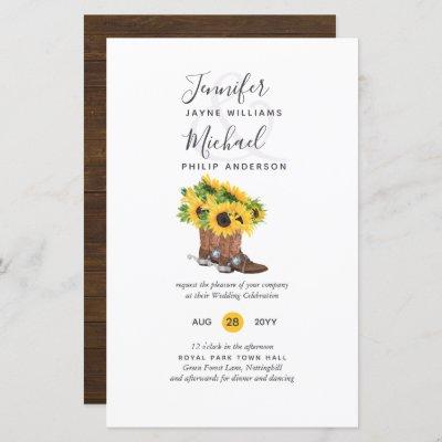 BUDGET Rustic Sunflower Cowboy Boots Wedding Inv
