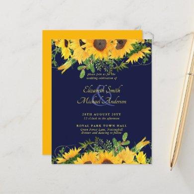 BUDGET Rustic Sunflower Themed Wedding Invite