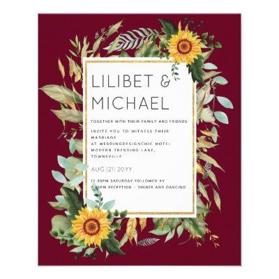 Budget Rustic Sunflowers BOHO Greenery Wedding Inv Flyer