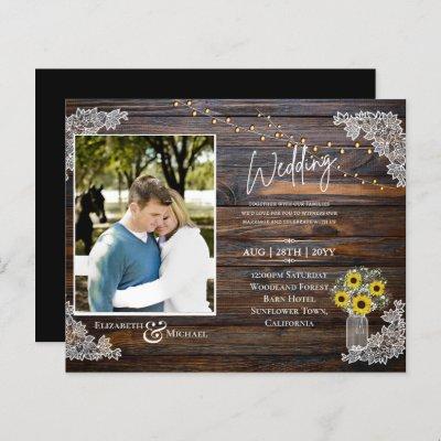 BUDGET Rustic Sunflowers Photo Wedding Invite
