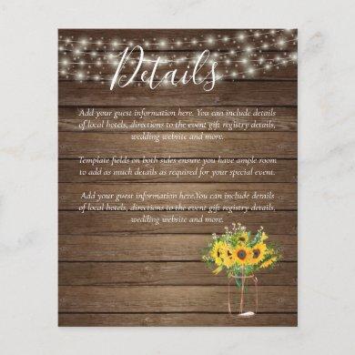 BUDGET Rustic Sunflowers Wedding Details Enclosure
