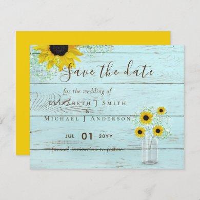 BUDGET Rustic Sunflowers Wedding Save Dates