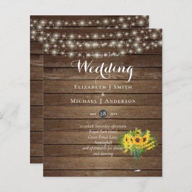 BUDGET Rustic Sunflowers Woodland Wedding Invite