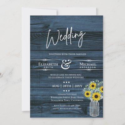 BUDGET Rustic Wedding Blue Yellow Sunflower Invite