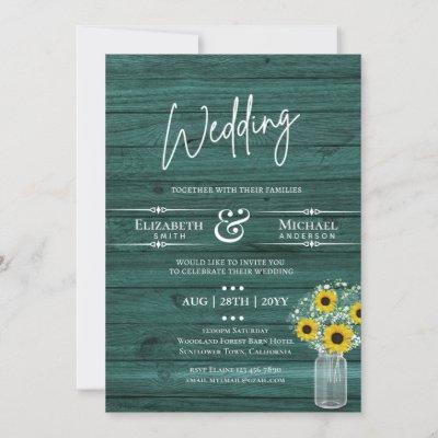 BUDGET Rustic Wedding GreenYellow Sunflower Invite