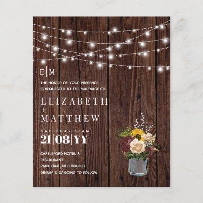 Budget Rustic Wood Burgundy Yellow Wedding Invites
