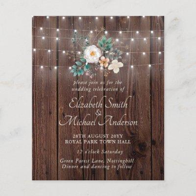Budget Rustic Wood Lights Floral Wedding Invites