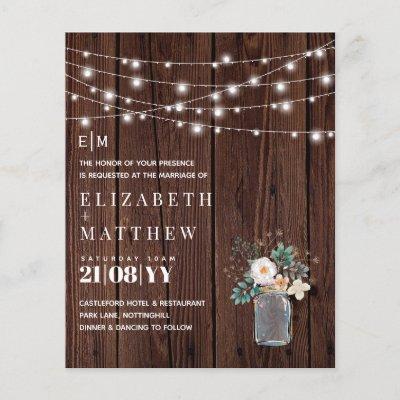 Budget Rustic Wood Mason Jar Lights Wedding Invite