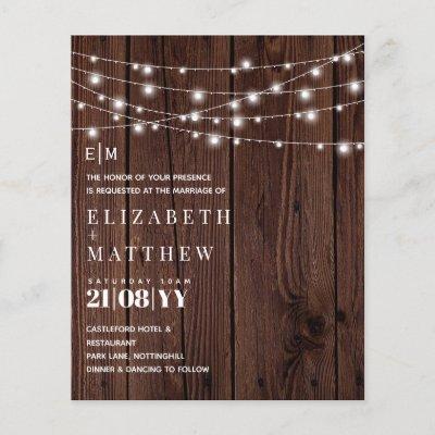 Budget Rustic  Wood Strings Lights Wedding Invites