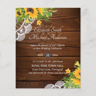 BUDGET Rustic Wood Sunflowers Lace Wedding Invites