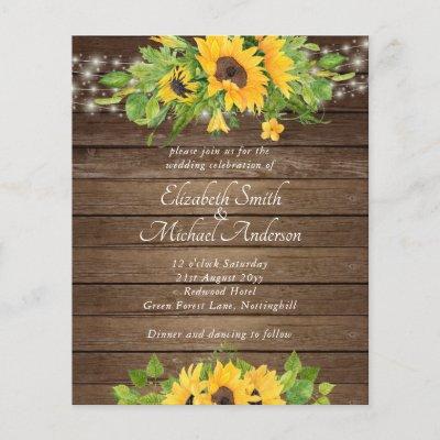 Budget Rustic Wood Sunflowers Lights Wedding Invit