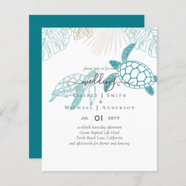 BUDGET  Sea Turtles Wedding Modern Line Art