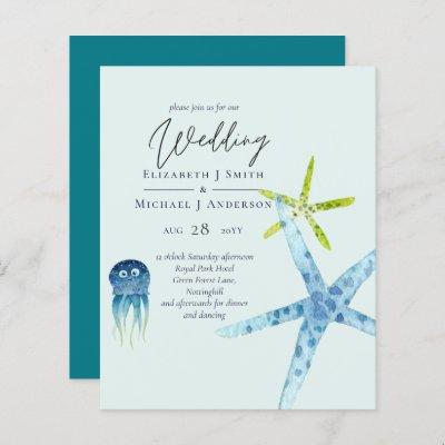 BUDGET Sealife Beach Ocean Wedding Invitations