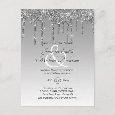 Budget SILVER Glitter Dripping WEDDING INVITE