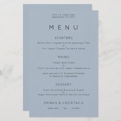 Budget Simple Typography Dusty Blue Wedding Menu