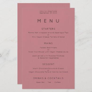 Budget Simple Typography Dusty Rose Wedding Menu