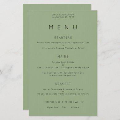 Budget Simple Typography Sage Green Wedding Menu