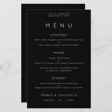 Budget Simple Typography White Black Wedding Menu