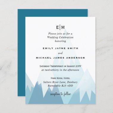 Budget Snowy Mountain Skiing Winter Wedding Invite